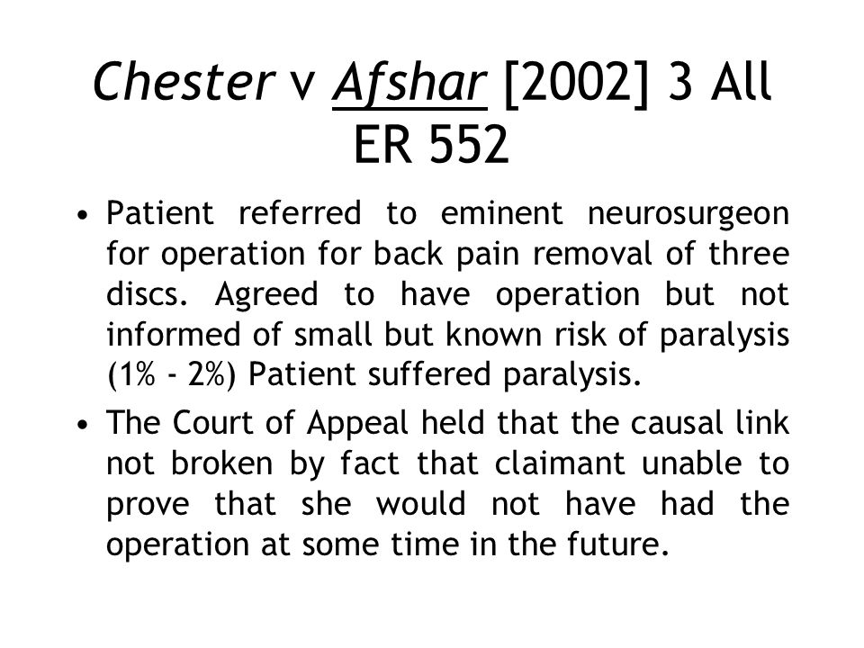 Chester v Afshar [2002] 3 All ER 552